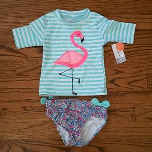 Carter's Flamingo 2 Piece Swimsuit, Size 3T